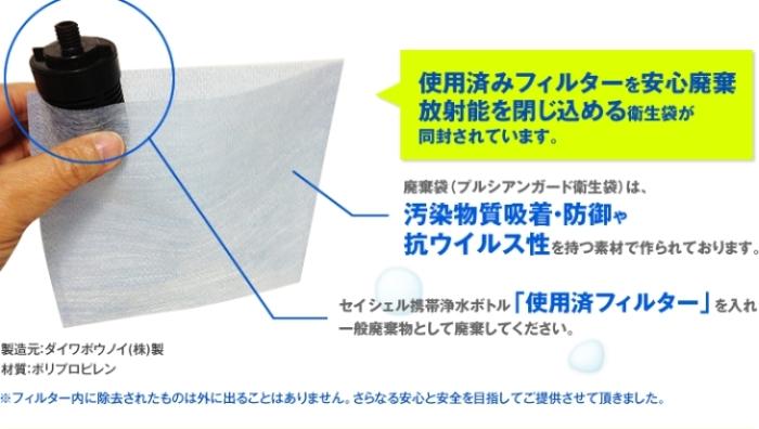 使用済みフィルターを安心廃棄放射能を閉じ込める衛生袋が同封されています。